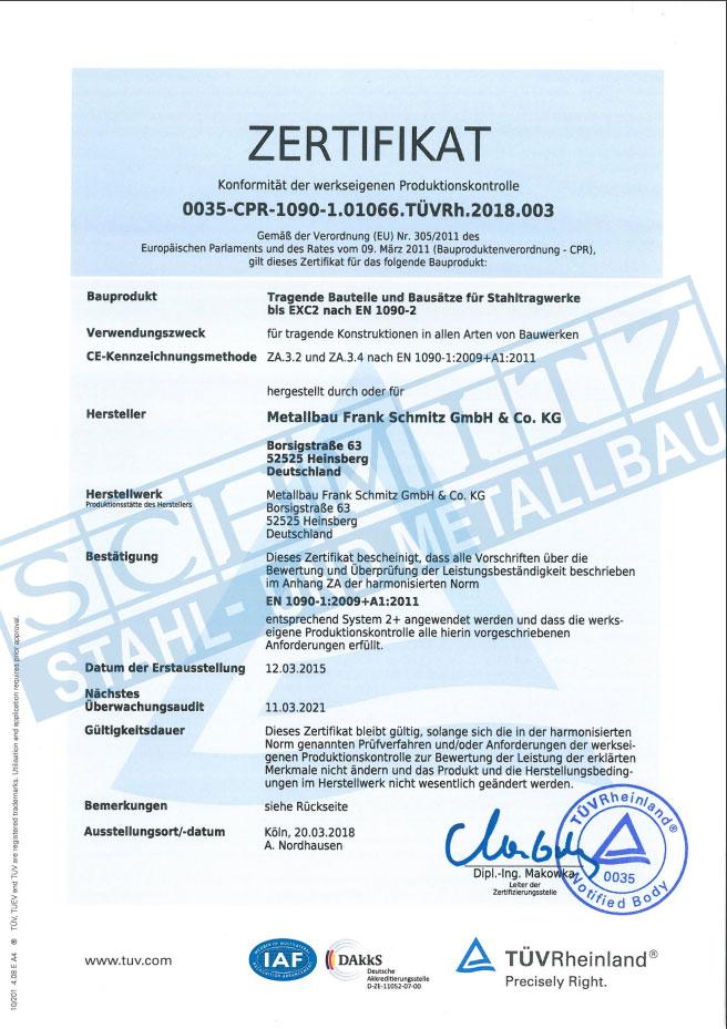 Zertifikat Produktionskontrolle Metallbau Schmitz